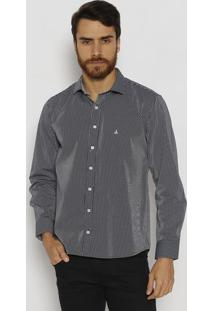 Camisa Slim Fit Com Bordado Frontal - Azul Marinho & Bravip Reserva