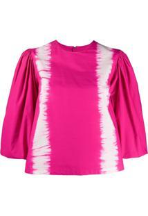 Msgm Blusa Tie-Dye Com Mangas Bufantes - Rosa