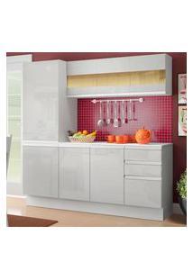 Cozinha Compacta 100% Mdf Madesa Smart 170 Cm Modulada Com Armário, Balcáo E Tampo - Frentes Branco Brilho Branco