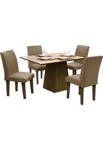Mesa Para Sala De Jantar Com 4 Cadeiras Florença – Dôbue - Castanho / Bege / Castor