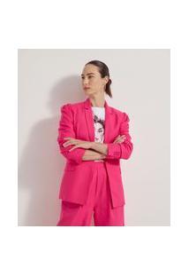 Blazer Alongado Liso Com Pregas Nos Ombros | Cortelle | Rosa | 42
