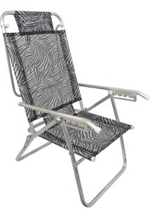 Cadeira Praia Reclinável Zaka Infinita Up Alumínio Até 100 Kg Zebra