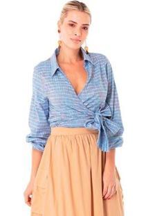 Blusa Karamello Cashequer Feminina - Feminino-Azul