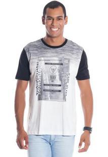 Camiseta Com Mangas Contrastantes Branco Bgo