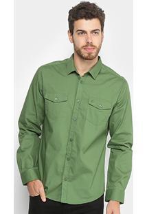 Camisa Forum Manga Longa Masculina - Masculino-Verde
