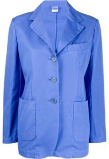 Aspesi Blazer Slim Com Abotoamento Simples - Azul