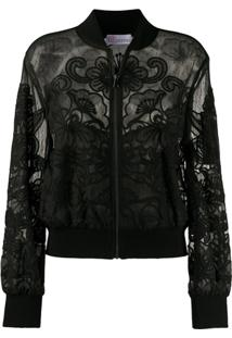 Red Valentino Embroidered Bomber Jacket - Preto