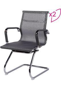 Jogo De Cadeiras Office Eames Em Tela- Cinza Escuro & Pror Design