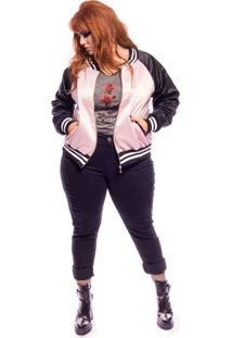 Jaqueta Vintage And Cats Bomber Whatever Plus Size Rosa