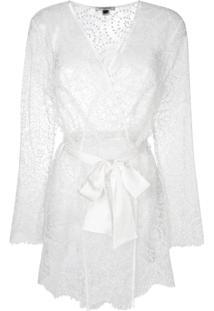 Gilda & Pearl Evelyn Kimono Dressing Gown - Branco