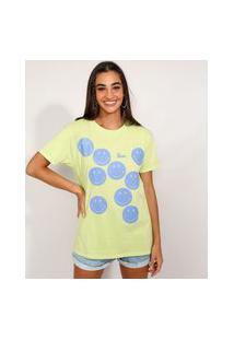 Camiseta Feminina Smiley Manga Curta Verde