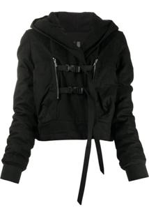 Rick Owens Drkshdw Buckled Hooded Jacket - Preto
