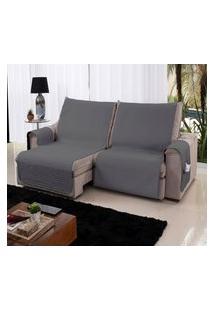 Xále Protetor Sofá Retrátil Reclinável Assento 1,60M Cinza