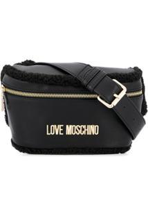 Love Moschino Pochete Com Placa De Logo - Preto