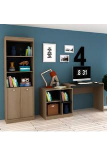 Conjunto Home Office Com Escrivaninha Multifuncional E Estante Para Livros Móveis Avelã Tx/Ônix Tx