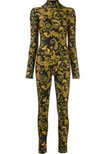 Versace Jeans Couture Macacão Com Estampa Barroca - Preto