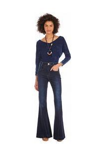 Calça Maria.Valentina Flare M. Victoria Cós Alto Barra Desmanchada Jeans