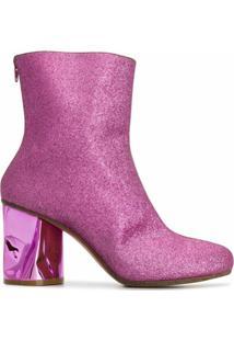 Maison Margiela Ankle Boot Com Brilho - Rosa
