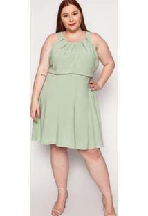 Vestido Almaria Plus Size Kayla Pinhel Viscose Verde Verde