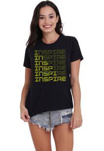 Camiseta Feminina Jay Jay Inspire Neon Amarelo Preta - Kanui