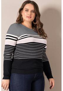 Suéter Listrado Cinza Lisamour