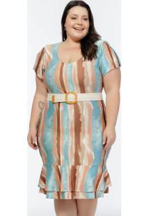 Vestido Plus Size Estampado Babados Na Barra