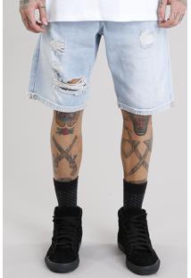 Bermuda Jeans Masculina Reta Destroyed Com Bolsos Azul Claro