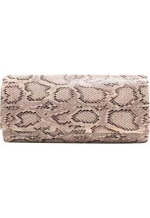 Bolsa Birô Clutch Animal Print Cobra Feminina - Feminino-Bege
