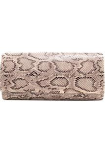 Bolsa Clutch Animal Print Cobra - Feminino-Bege