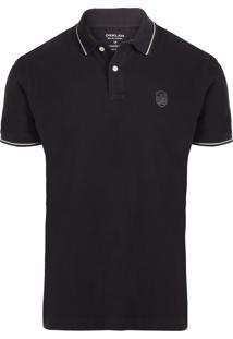 Camiseta Masculina Pólo Mini Brasão - Preto