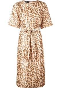 Rochas Vestido Animal Print - Laranja