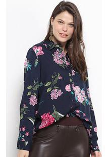 Camisa Social Facinelli Floral Feminina - Feminino-Marinho