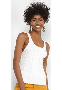 Regata Lily Fashion Tricot Pérolas Feminina - Feminino-Branco