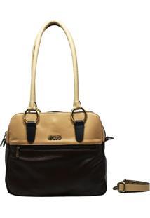 Bolsa De Couro Recuo Fashion Bag Baú Café Pérola