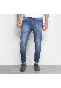 Calça Jeans Cropped Destroyed Handbook Luciano Masculina - Masculino-Jeans