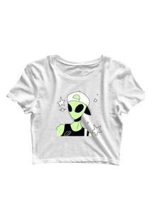 Blusa Blusinha Feminina Cropped Tshirt Camiseta Dope Alien Branco