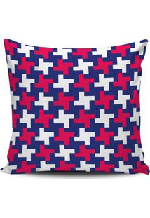 Capa Almofada Decorativa Geometrica Azul E Pink 45X45Cm