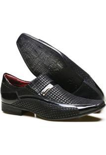 Sapato Social Calvest Couro Textura Piastra Metal Masculino - Masculino-Preto