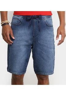 Bermuda Jeans Cavalera Moletinho Denim Masculina - Masculino-Azul