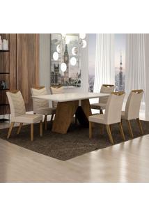 Conjunto De Mesa De Jantar Ii Com 6 Cadeiras Verona Veludo Off White E Palha
