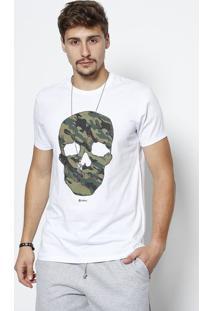 Camiseta Caveira Com Termocolantes - Branca & Verde Javali