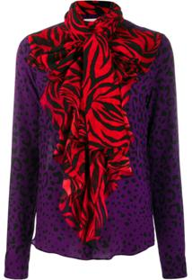 Faith Connexion Contrast Animal Print Blouse - Roxo