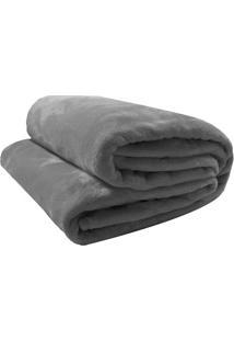 Cobertor Velour Solteiro- Cinza Escuro- 150X200Cm