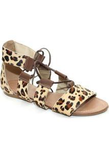 Sandália Top Franca Shoes Gladiadora - Feminino-Bege