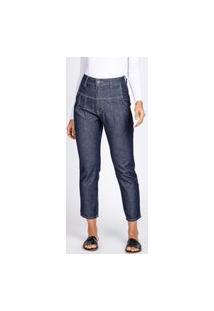 Calça Jeans Bloom Mom Recortes E Pregas Azul Escuro