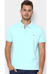 Camisa Polo Gangster Piquet Com Elastano Masculina - Masculino-Azul Piscina