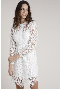 Vestido Feminino Mindset Curto Em Renda Guipir Manga Longa Off White