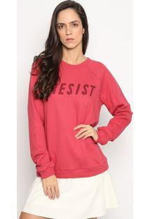 """Blusã£O """"Resist"""" Em Moletinho- Rosa Escuro & Vinho- Ccolcci"""