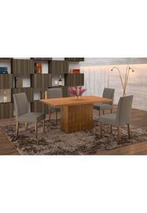 Conjunto De Mesa De Jantar Com 6 Cadeiras E Tampo De Madeira Maciça Arezo Ii Suede Castanho E Cinza