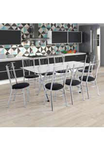 Conjunto De Mesa De Cozinha Com Tampo De Vidro E 8 Lugares Amarante Corino Incolor E Preto